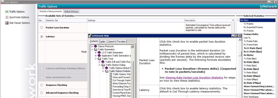 Ixia IxNetwork Packetloss Duration